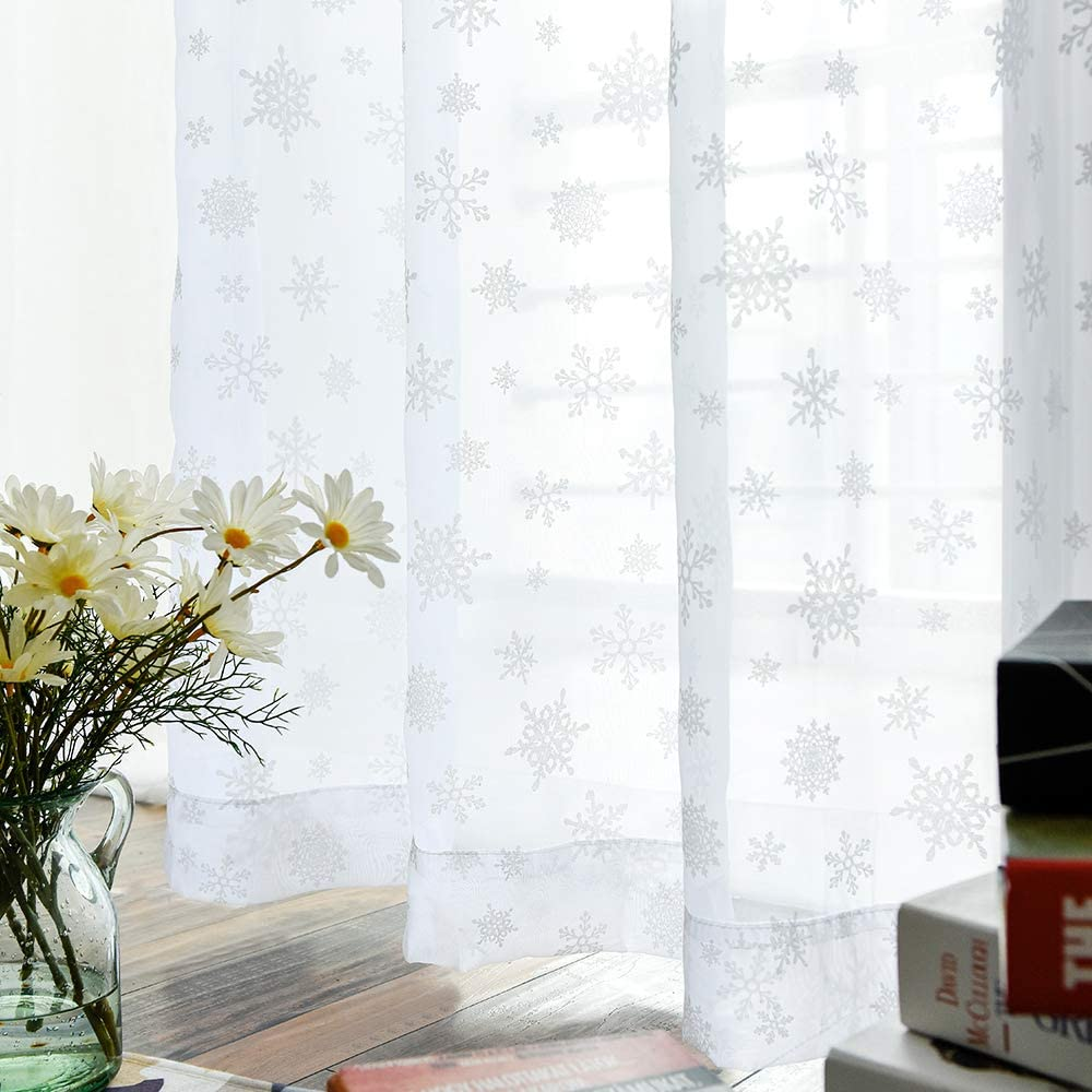White 63 inch Long Sheer Curtains with Snowflake Design Drapes Christmas Winter Rod Pocket Window Curtains 2 Panels