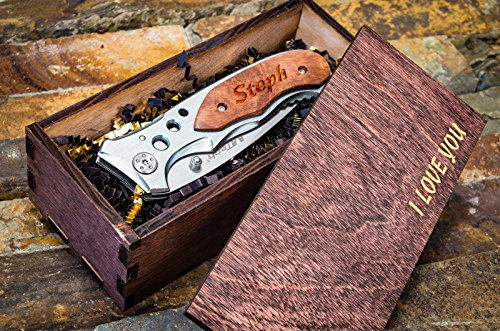Engraved Groomsmen Knife & Wooden Gift Box- Personalized Wood Knife Boxes + Custom Pocket Knives- Groomsman Set Husband Hunting Man Mens Boyfriend Wedding Gifts Folding Blade Rustic Knifes Lock (Custom Costume Jewelery)
