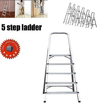 Escalera de 5 peldaños, escalera plegable, escalera de aluminio antideslizante, ligera (3,4 kg), máx. Carga 150 kg: Amazon.es: Bricolaje y herramientas