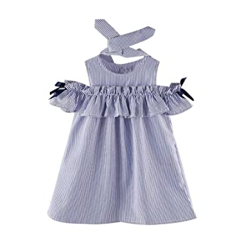 0c6314b071a Image Unavailable. Image not available for. Color  Feitong 2PCS Toddler  Kids Baby Girl Outfit Clothes Strapless Stripe Dress+Headband Set