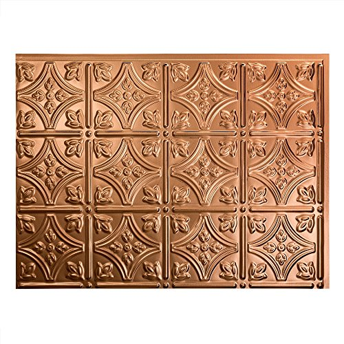 Backsplash Accessory - Fasade Easy Installation Traditional 1 Polished Copper Backsplash Panel for Kitchen and Bathrooms (18