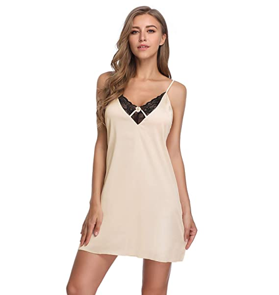 28105fc6bba7 Lusofie Damen Sexy Satin Nachtwäsche Dessous Spitze Sleepwear V-Ausschnitt  Spaghetti Strap Chemise Nachthemd(