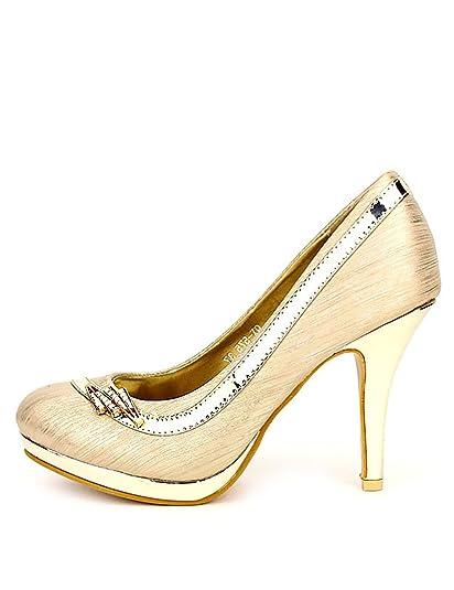b6f78b64dd675 Cendriyon, Escarpin doré VISVERA Mode Chaussures Femme Taille 36   Amazon.fr  Chaussures et Sacs