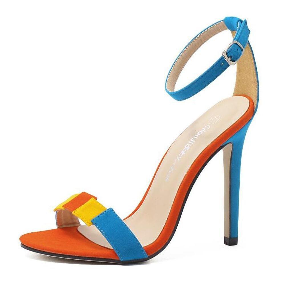 GLTER Mujeres Open-Toe Bombas Verano Suede Lucha Color Palabra Simple Salvaje Fine High-Heeled Sandalias al aire libre Corte Zapatos , blue , 37 37|blue