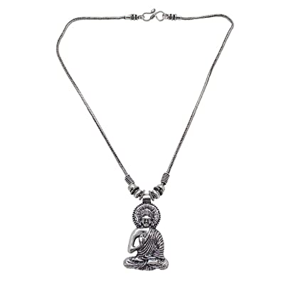 313ea03d4f4 Buy Anigalan Silver Brass Simple Buddha Pendant Chain Oxidized ...