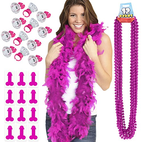 Pink Pecker Bachelorette Party Favors Kit - 1 Pink Boa, 12 Hot Pink Party Beads, 12 Light Up Rings & 12 Pink Pecker Bachelorette Party Tattoos