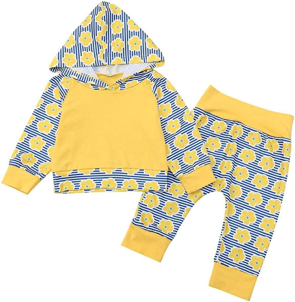 Pants Long Sleeve Outfits Clothing Sets KaiCran Baby Clothes Girls,Baby Girls Flower Striped Print Hooded Top
