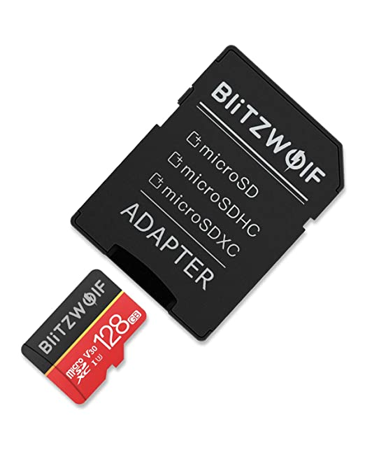 BlitzWolf Tarjeta de Memoria, 128GB Tarjeta Memoria microSDXC con Adaptador SD, Clase 10, U3(128GB)