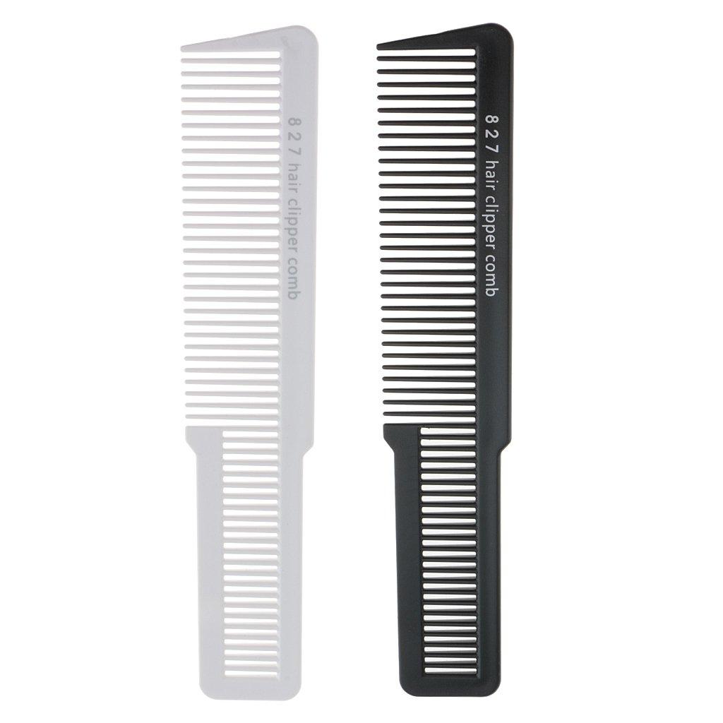 Baoblaze 2 Pieces Professional Flat Top Stylist Salon Barber Clipper Cutting Hair Comb
