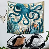 Ecomic Octopus Sea Ocean Animal Landscape Bohemian Octopus Tapestry Throw, Wall Hanging Tapestries, Hanging wall decor, Beach Throw, Table Runner/Cloth (03)