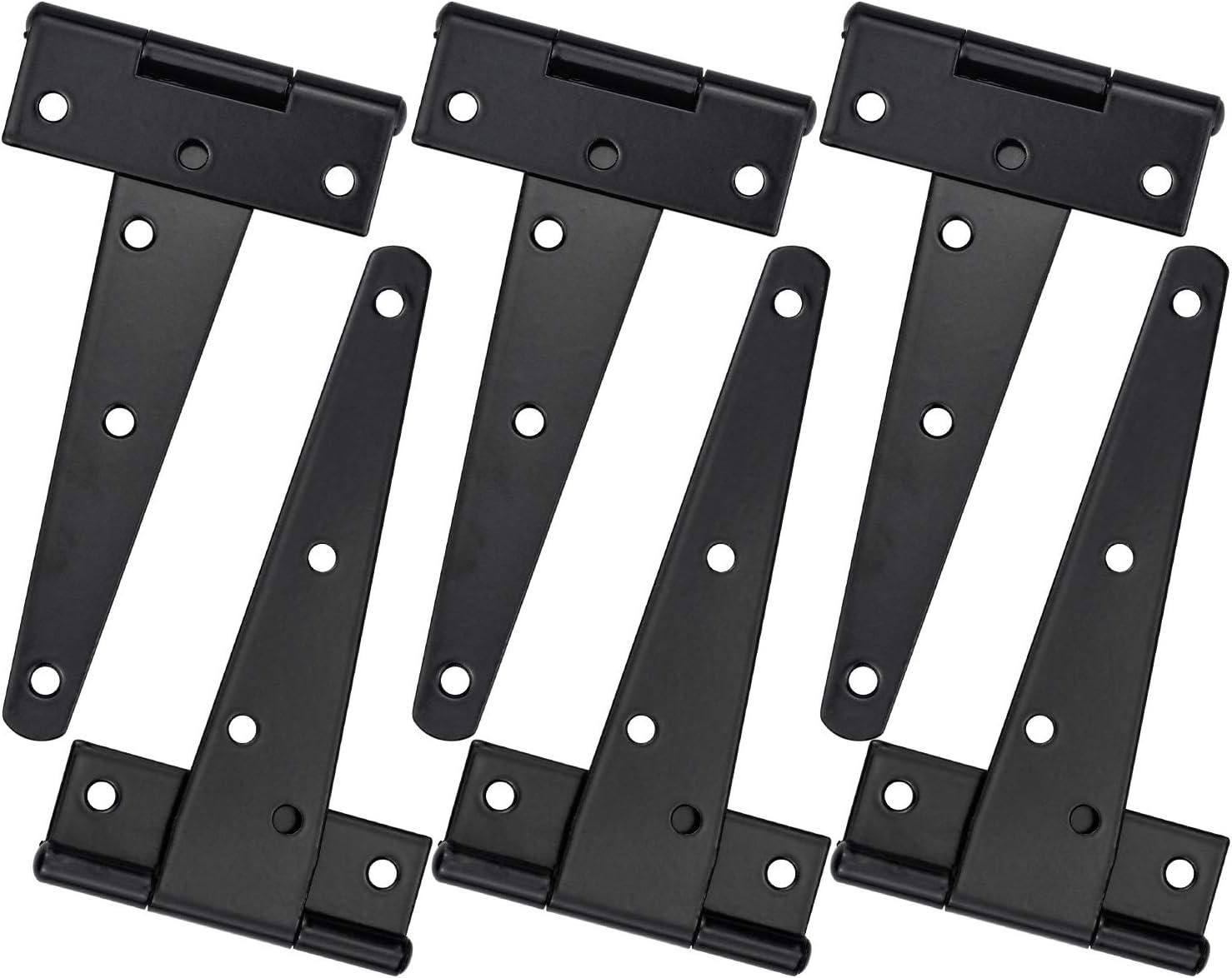 KARAA 6 piezas Bisagras en T 5 pulgadas negro Galvanizado para puerta de granero de hierro forjado