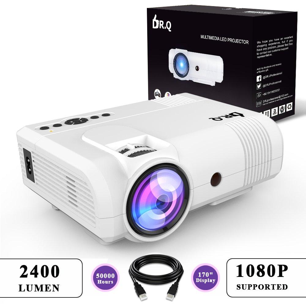 DR.Q 2400 Lumen Beamer (+20% Bildhelligkeit), mini Beamer mit 170 Display, 50000 Stunden, Video Beamer unterstützt 1080P, Verbindung mit TV Stick HDMI VGA USB AV TF Gerät, mit HDMI und AV Kabel, Weiß Weiß L8