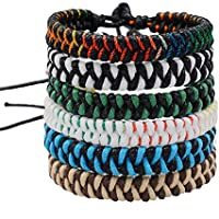 Jeka Handmade Braided Woven Friendship Bracelets Fashion 6Pcs Bulk for Men Women Cool Cords Wrist Ankle