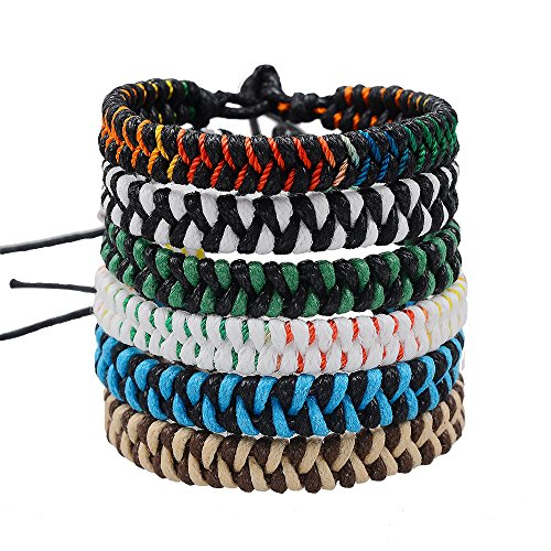 Jeka Handmade Braided Woven Friendship Bracelets for Boys Girls Fashion 6Pcs Bulk Men Women's Cool Wrist Anklet Bracelet]()
