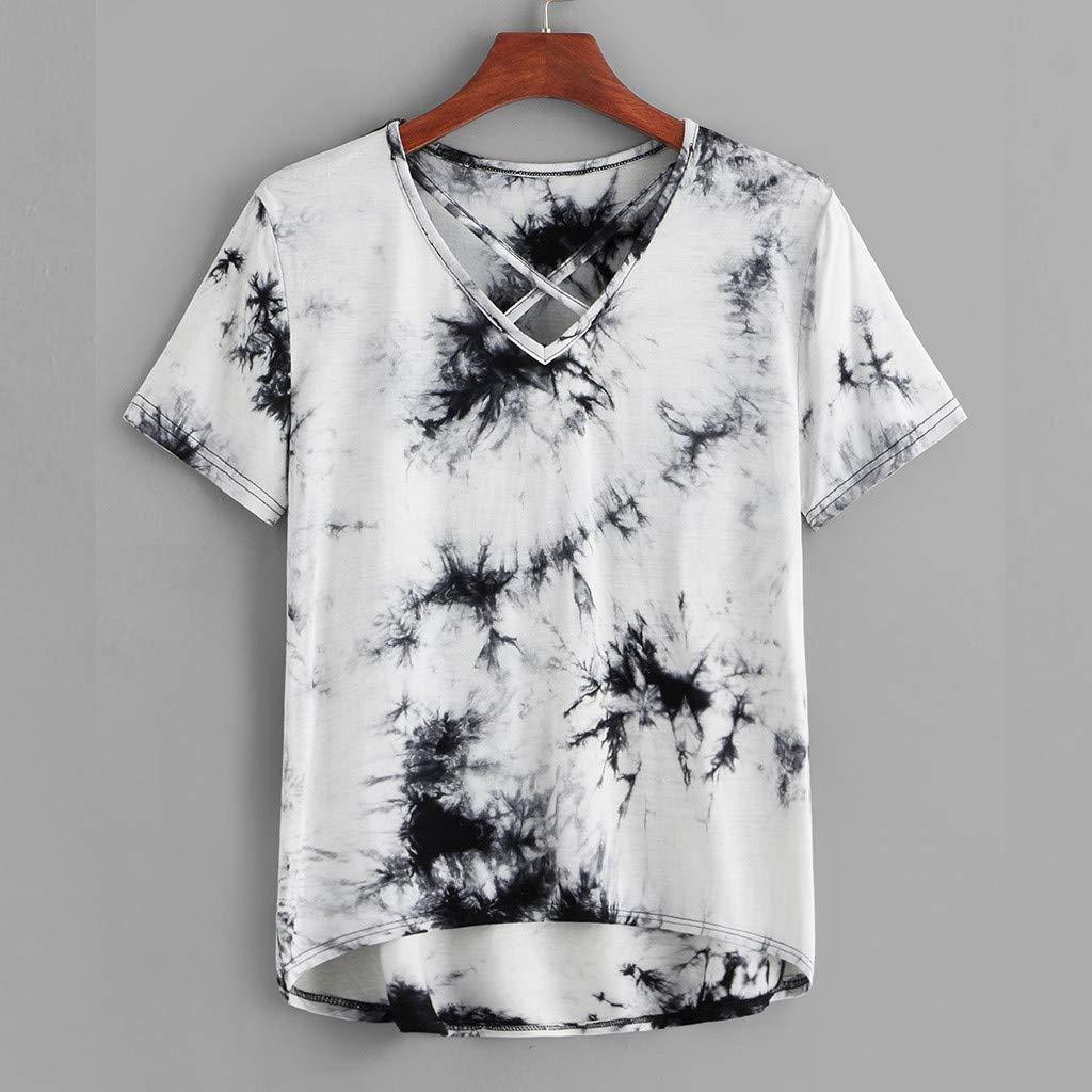 TOPKEAL Camiseta Gris para Mujer con Estampado y Tirantes Cruzado de Manga Corta de Verano: Amazon.es: Ropa y accesorios