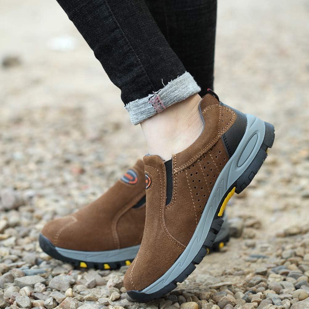 Zapatos de Seguridad para Hombre Zapatilla de Trabajo Sin Cordones Anti-punci/ón Calzado de Protecci/ón S3