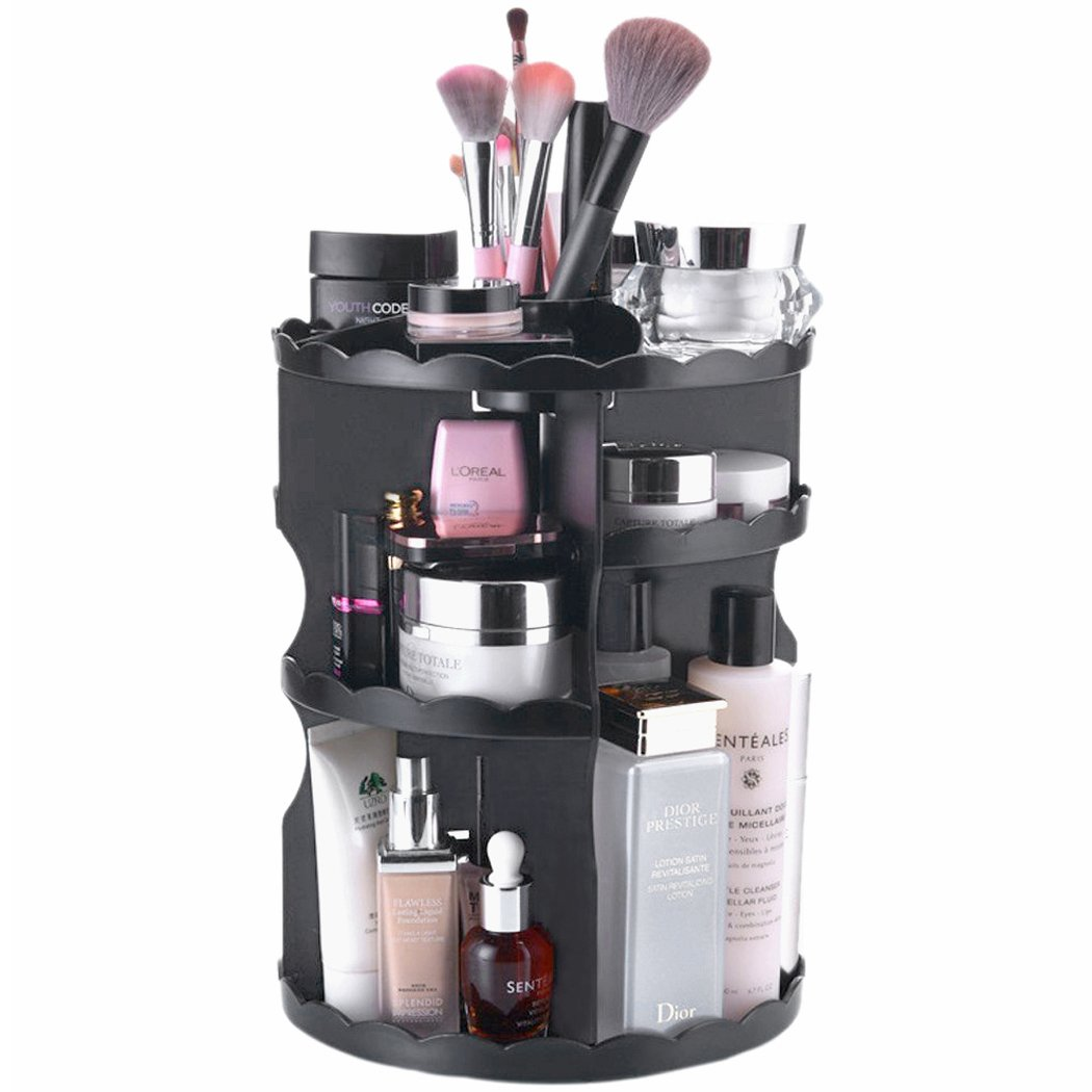 360 Degree Rotating Makeup Organizer Adjustable Cosmetic Organizer Tray, Black