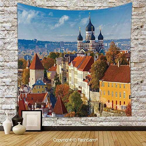 FashSam Tapestry Wall Blanket Wall Decor Toompea Hill with Historical Tower Russian Cathedral Old City Culture Landmark Image Home Decorations for Bedroom(W59xL78) -