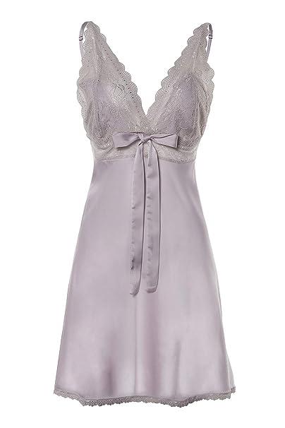 6ca52c14be6 BellisMira Women's Satin Lace Full Slip Chemise Silk Nightgown Sleepwear  Grey