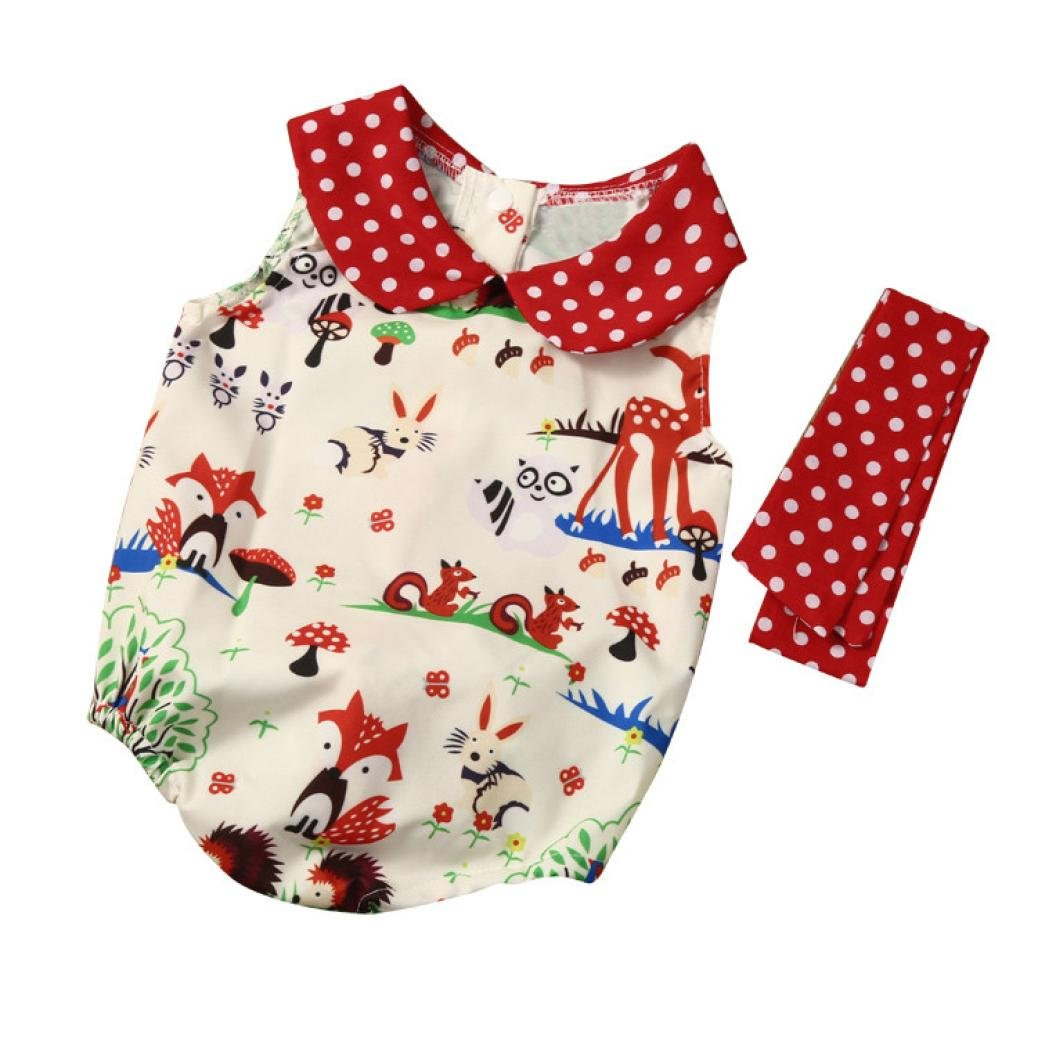 Clearance!!! Hevoiok Newborn Infant Toddler Baby Girls Romper Cute Sweet Cartoon Animal Print Peter Pan Collar Jumpsuit + Headband 2Pcs Clothes Sets Outfits