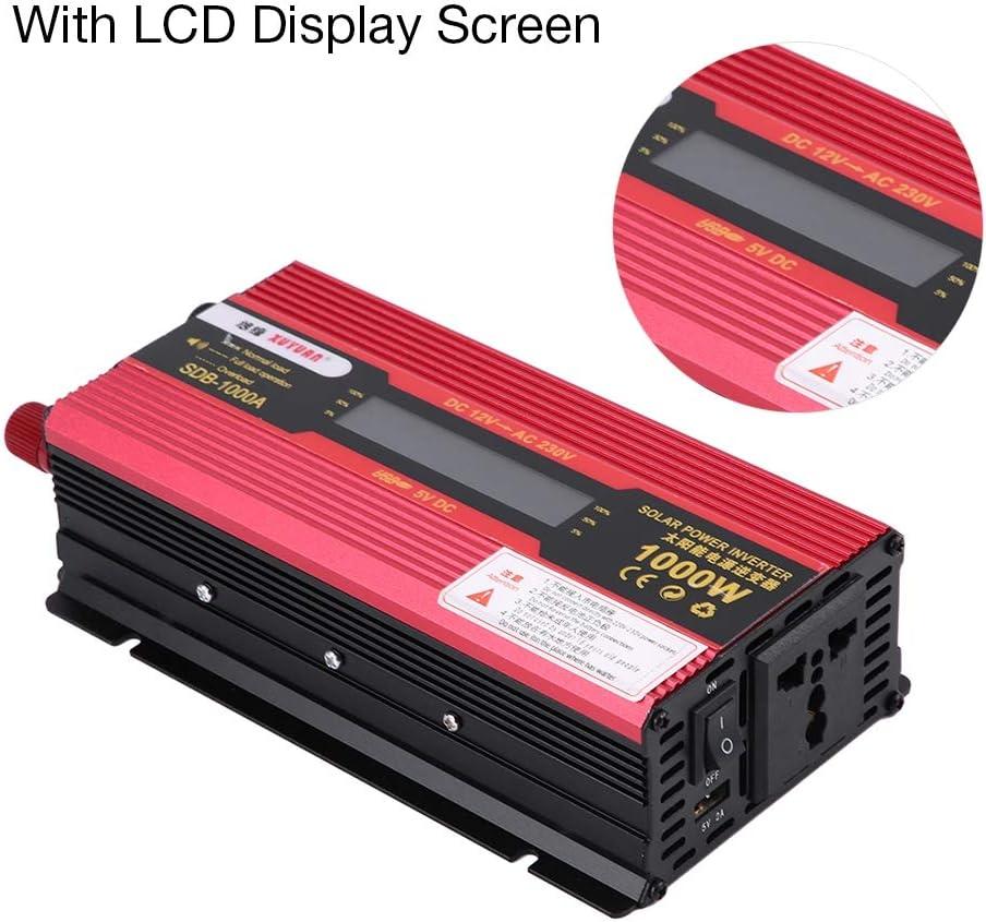 Simlug Inverter di potenza modificata per auto da 1000 W Convertitore sinusoidale di rete con display LCD da DC12V a AC220V con 1 spina per caricabatterie e 1 cavo accoppiato con clip