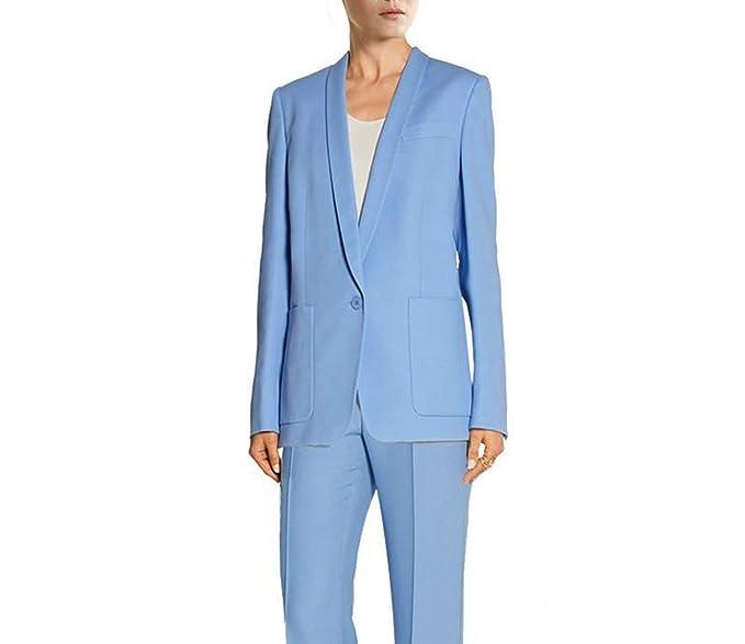 2580f6e5ba7a1 Blue Handmade Bussiness Formal Women Suit Set Blazers Pants Office ...