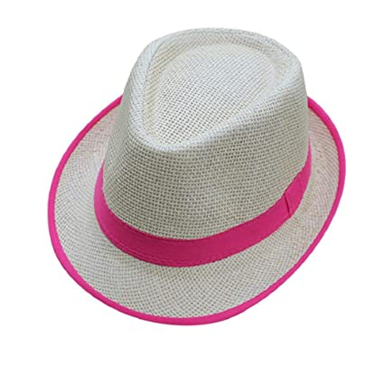 0ba6d6e4016e2a Amazon.com: ShenPourtor Women/Men's Summer Cool Short Brim Straw Fedora Sun  Hat WIth Stylish Hat Band (#Hot Pink): Toys & Games