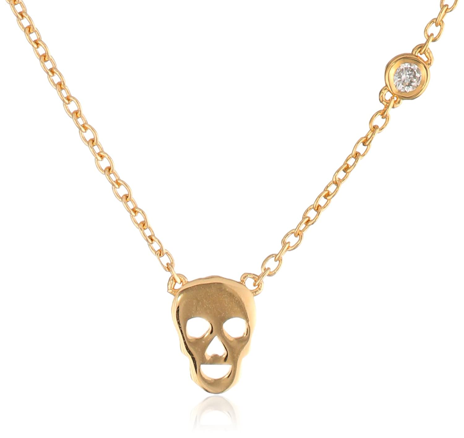 Shy by SE Skull Necklace with Diamond Bezel