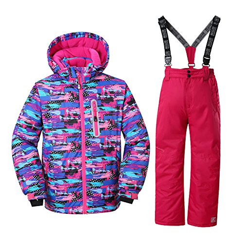 (HOTIAN Girls Windproof Snow Jacket Insulated Ski Jacket + Pants Snowsuit (Size US 4 - US 16) (US 8 (Height 127CM), style3))