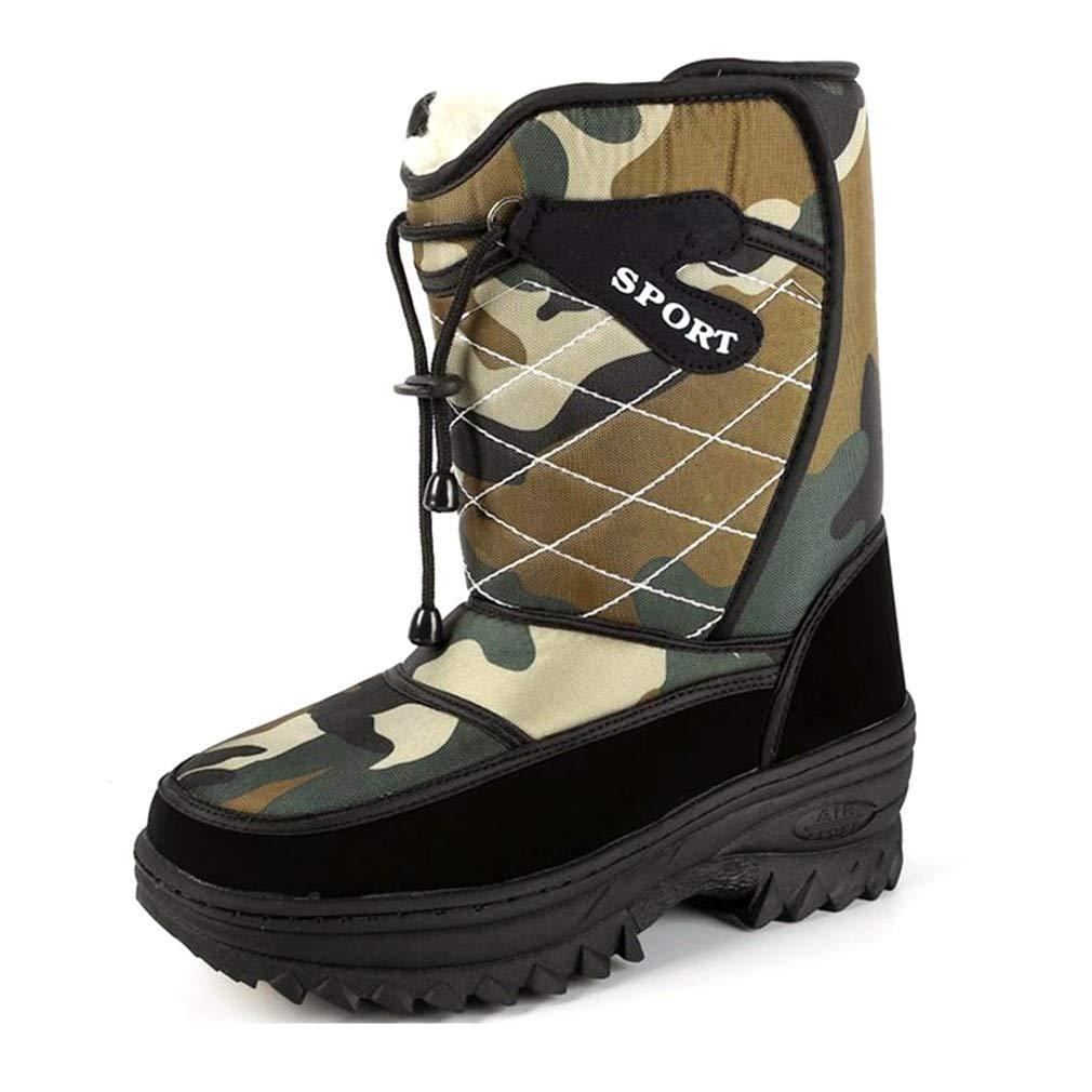 Hy Herren Winterstiefel, Plus samt warme Wasserdichte Winter Schnee Zip-Stiefel (Farbe : Camouflage, Größe : 42)