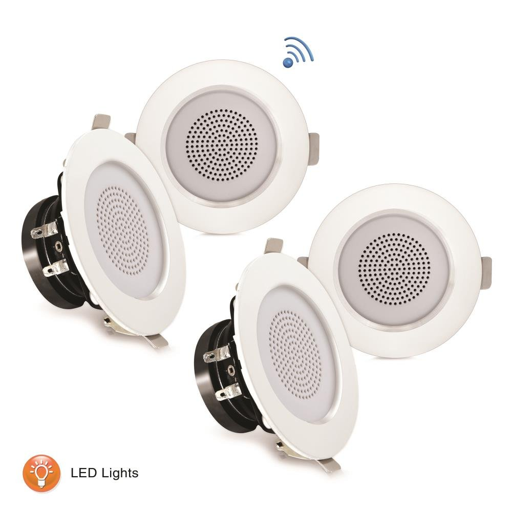 """Pyle 3"""" Bluetooth Flush Mount In-Wall In-Ceiling 2-Way Home Speaker System Built-in LED Lights Aluminum Housing Spring Loaded Clips Polypropylene Cone & Tweeter Stereo 200W, Set of 4 (PDIC4CBTL3B)"""