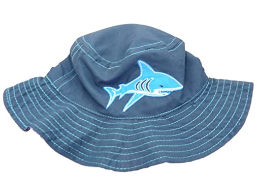87bf3d3448b87 Amazon.com  ABG Infant Boys Blue Shark Reversible Floppy Sun Hat ...
