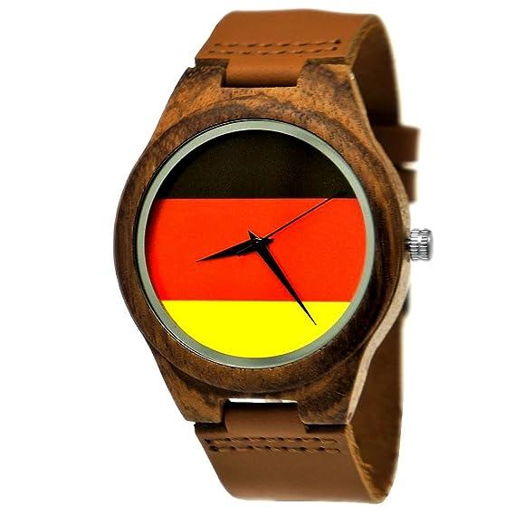 Hecha a mano de madera de Alemania® – Reloj Hombre Bandera de Alemania de reloj