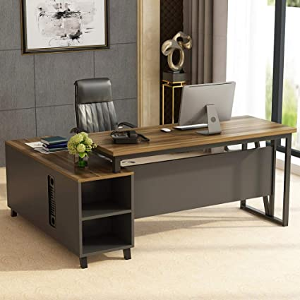 size 40 6bd1c c6d8a Tribesigns Large L-Shaped Desk, Executive Office Desk Computer Table  Workstation with Storage, Business Furniture with File Cabinet, Dark Walnut  + ...