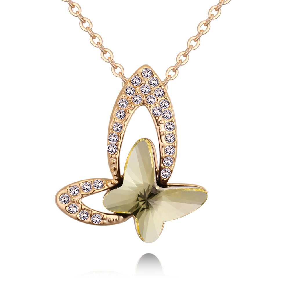 Sclorey Crystal Jewelry Sweet Temperamental Necklace Pendant Butterfly Necklace Birthday For Women