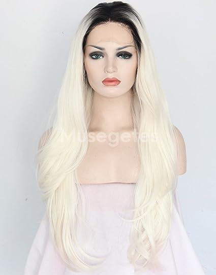 musegetes Ombre blanco recto peluca Lace Front sintético resistente al calor para las mujeres
