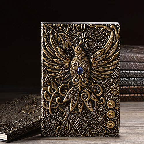 Embossed Leather Journal Writing Notebook – Antique Handmade Leather Daily Notepad Sketchbook, Travel Diary & Notebooks…
