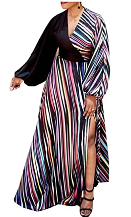 c3340b87c5c ainr Women Sexy V Neck Half Sleeve Striped Patchwork Maxi Dress at ...