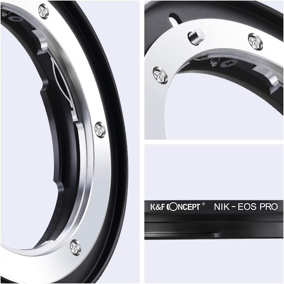 K/&F Concept Lens Mount Adapter with Light-reducing Paint for Nikon F//AF AI AI-S Lens to Canon EOS EF EF-S Mount Adapter 60D 50D 550D 500D 5D