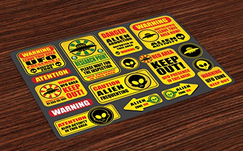 Lunarable Outer Space Place Mats Set of 4, Warning Ufo Signs with Alien Faces Heads Galactic Theme Paranormal Activity Design, Washable Fabric Placemats for Dining Room Kitchen Table Decor, Yellow by Lunarable