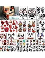 Yazje Tijdelijke tatoeages, voor Halloween, pompoen, heks, suikerschedel, tattoos voor vrouwen, mannen, jongens en meisjes, Halloween, zombie-make-up-kit, littekens, waterdichte tatoeages voor feestjes