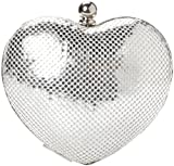 Whiting & Davis Heart Clutch,Silver,one size