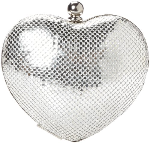Whiting & Davis Heart Clutch,Silver,one size by Whiting & Davis