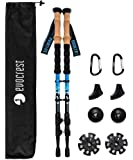 Evocrest Carbon Fiber Trekking Poles - Collapsible, Shock Absorbent, Ultra Lightweight Hiking Walking Sticks - Quick Locks, Cork Handle - All Terrain Accessories Included