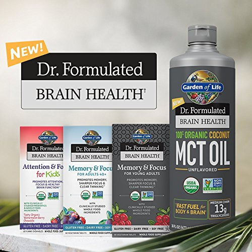 Garden of Life Dr. Formulated Brain Health 100% Organic Coconut MCT Oil 32 fl oz Unflavored, 13g MCTs, Keto & Paleo Diet Friendly Body & Brain Fuel, Certified Non-GMO Vegan & Gluten Free, Hexane-Free