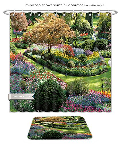 Minicoso Bath Two Piece Suit: Shower Curtains and Bath Rugs National Historical Site Butchart Garden In Spring Victoria British Columbia Canada Shower Curtain and Doormat - Victoria Macys Gardens