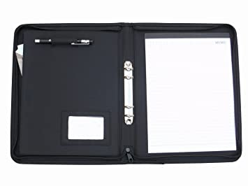 freeprint professional tablet padfolio with zippered binder rings and a4 size writing pad black