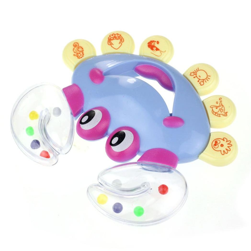 Gbell Educational Rattles for Infants, Crab Design Handbell Musical Instrument Jingle Rattle Toy for Newborns Infants (C)