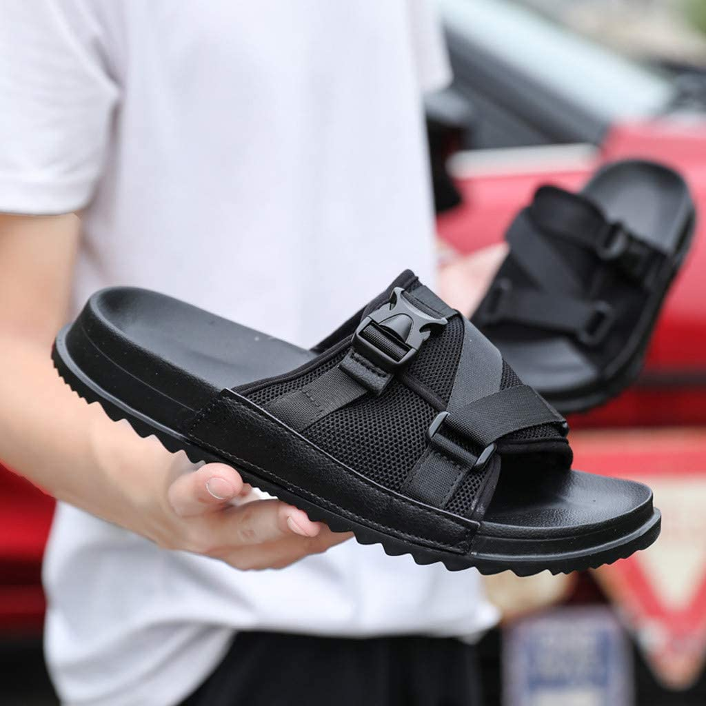 ❤️ Sunbona On Sale Mens Large Size Slippers Summer Soft Bottom Buckle Decorative Beach Sandals Anti-Slip Shower Home Shoes