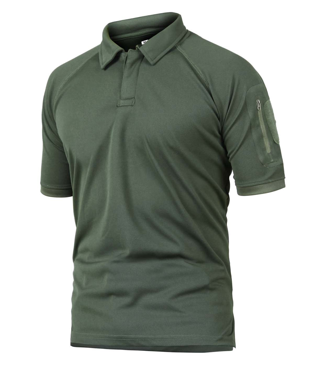 CRYSULLY Men Summer Pullover Tactical T-Shirts for Men Short Sleeve Military Polo Shirt Outdoor Combat Shirt Army Green